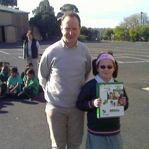 Trevor Boyd with junior school Quantum RLV scholarship winner